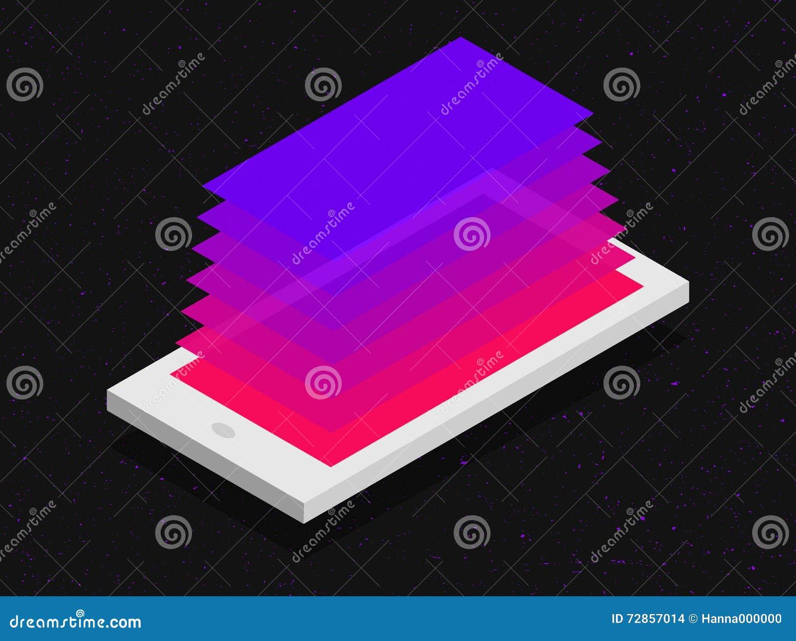 concetto mobile isometrico di applicazione nei colori