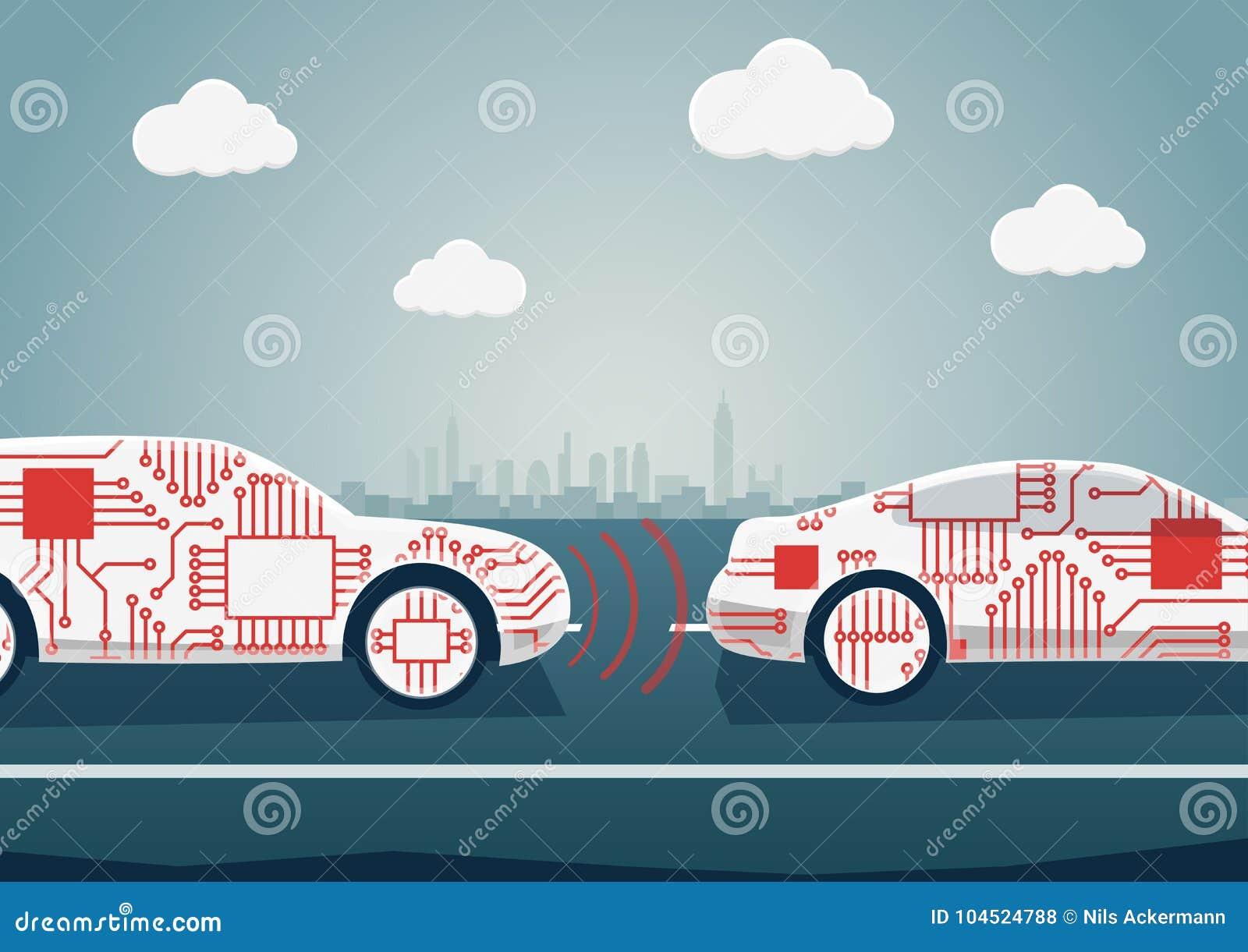 Concetto movente autonomo come esempio per digitalizzazione di industria automobilistica Illustrazione di vettore del communicati