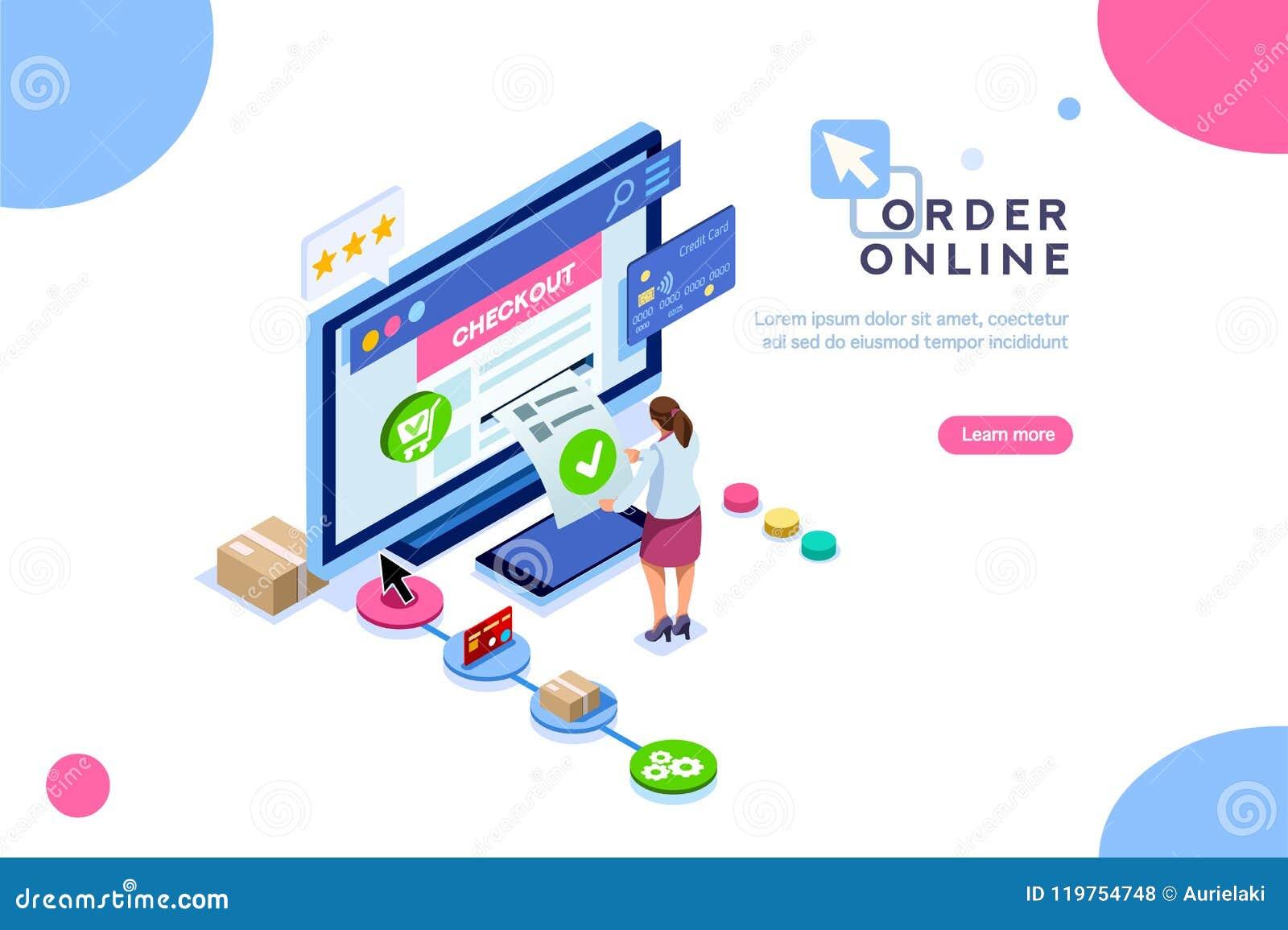 94b6564aed Acquisto, ordine del cliente online, concetto della vendita Carattere ad  acquisto Vector il carretto, potuto usare per l'insegna di web, il  infographics, ...