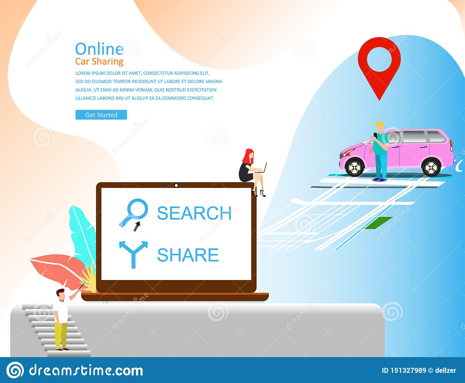 Concetto online dell illustrazione di vettore di car sharing, trasporto mobile della città con personaggio dei cartoni animati