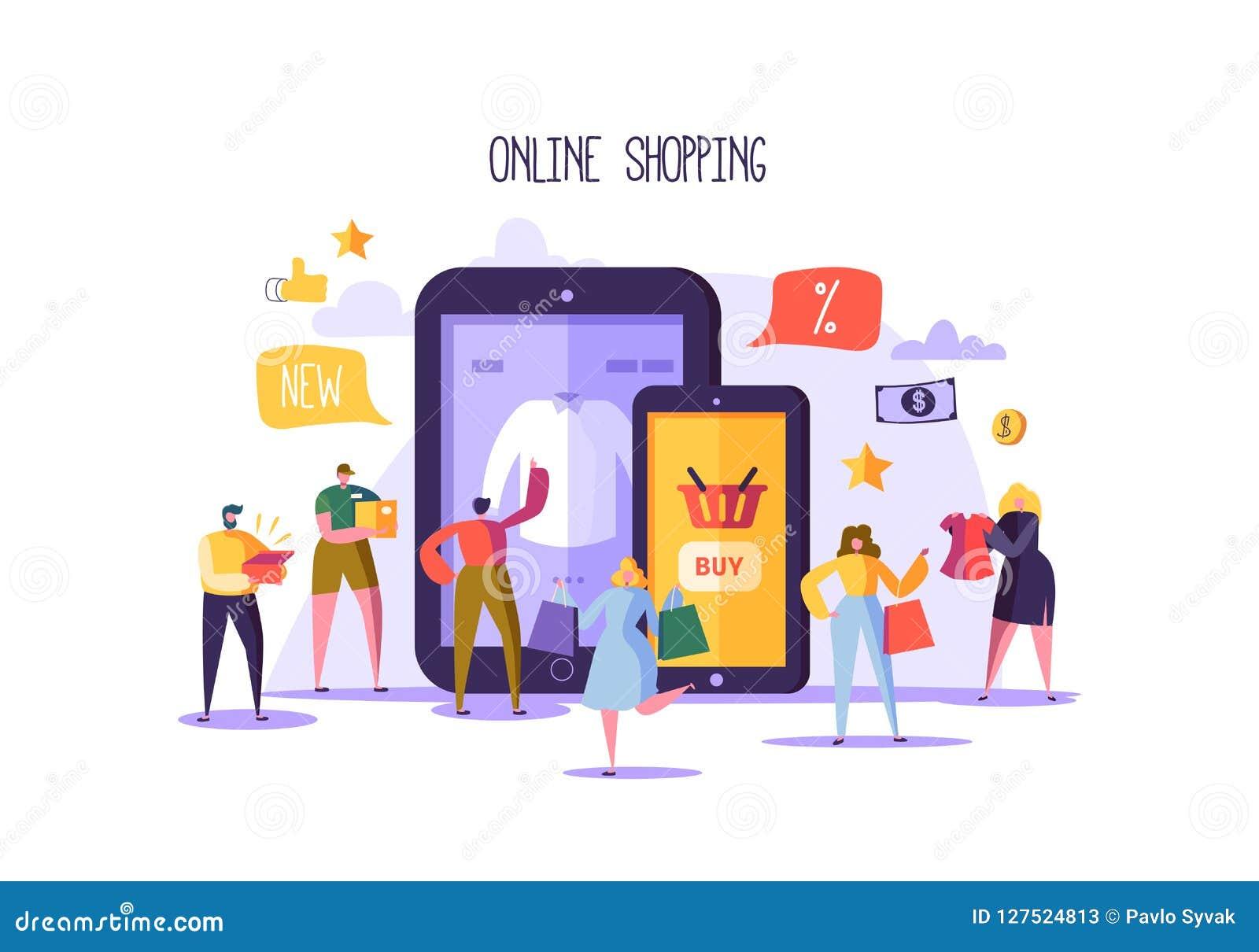 Concetto online di acquisto con i caratteri Deposito mobile di commercio elettronico con i prodotti d acquisto della gente piana