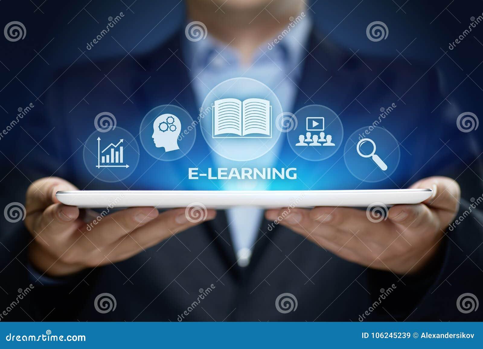 Concetto online di corsi di Webinar di tecnologia di Internet di istruzione di e-learning