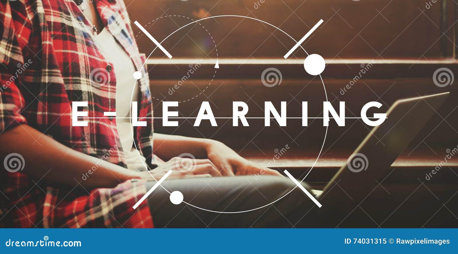 Concetto online di corso di studio di istruzione di e-learning