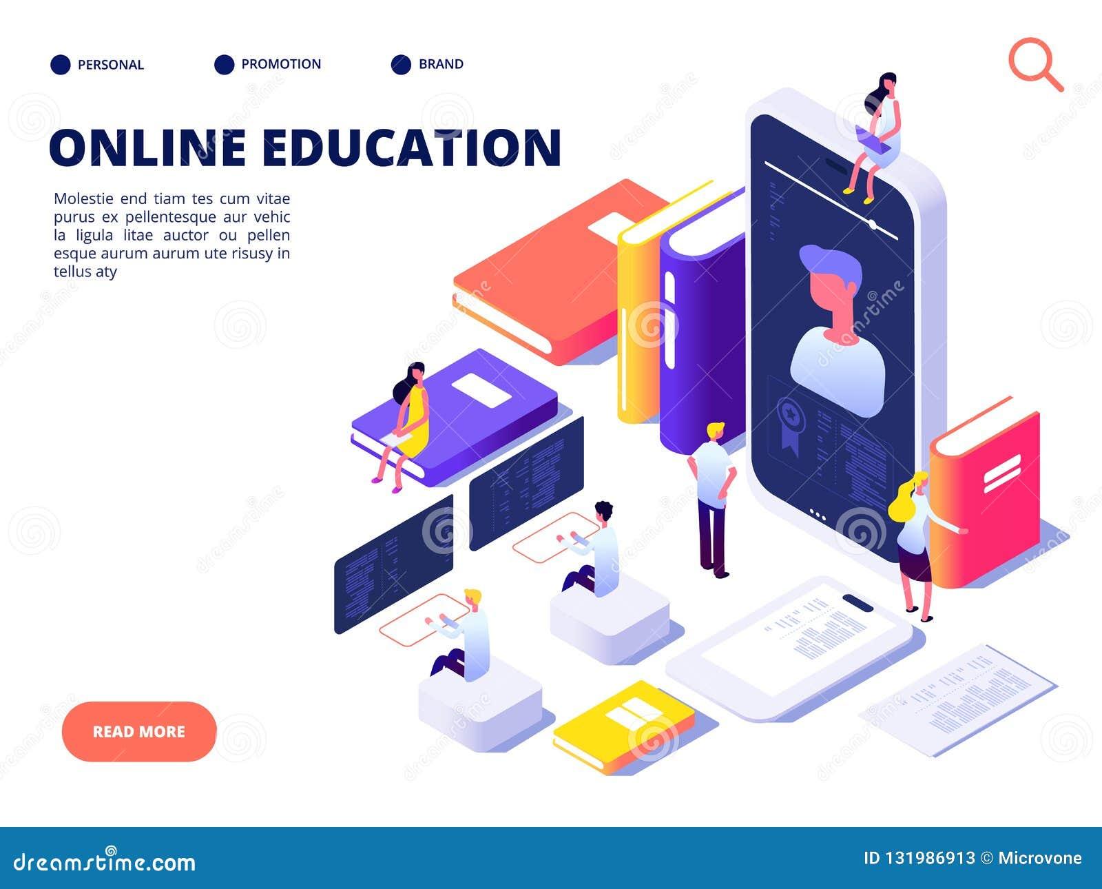 Concetto online di istruzione Addestramento della classe di Internet e corso online Istruisca sulla distanza Illustrazione isomet