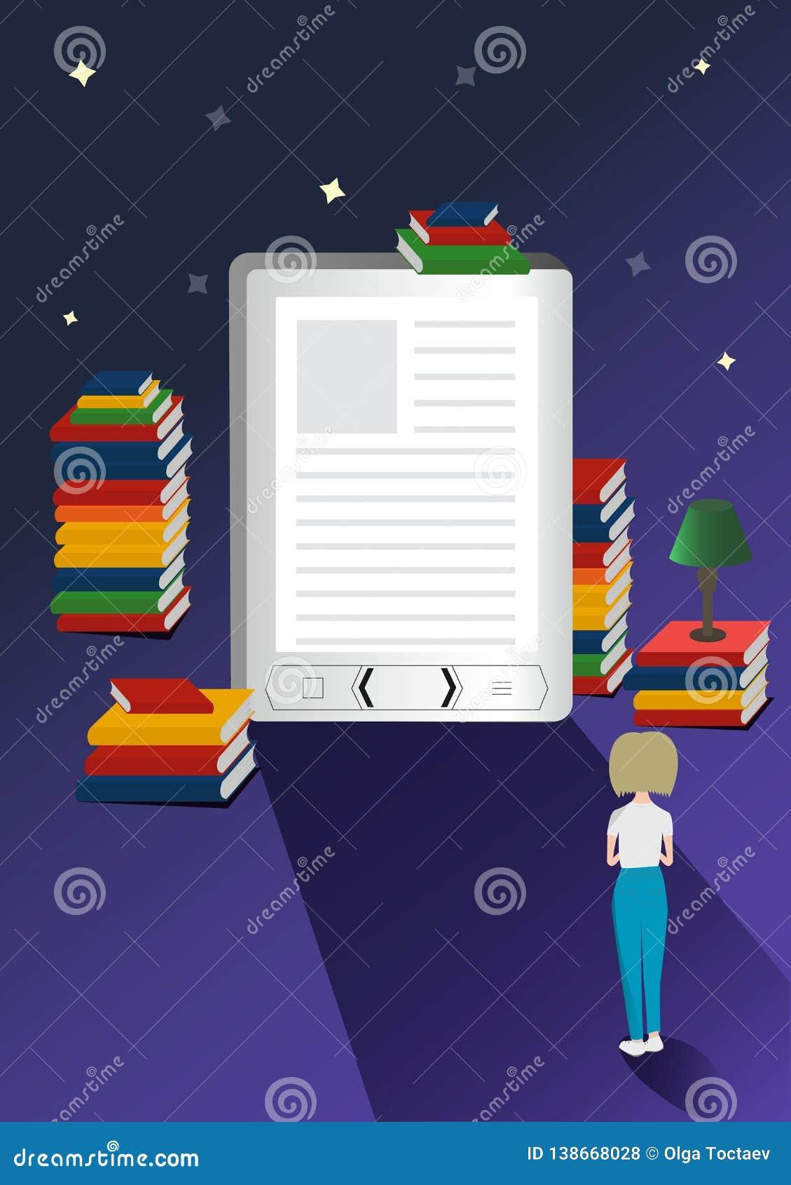Concetto online di vettore delle biblioteche mobili Illustrazione dei libri elettronici 3d con la micro ragazza Più libri