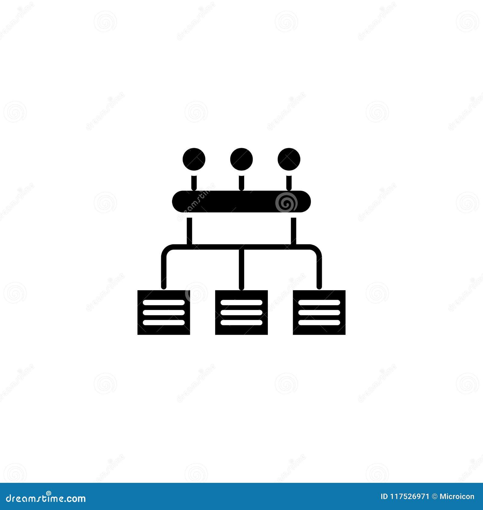 Concetto organizzativo dell icona del nero della struttura di ora Simbolo piano di vettore della struttura organizzativa di ora,