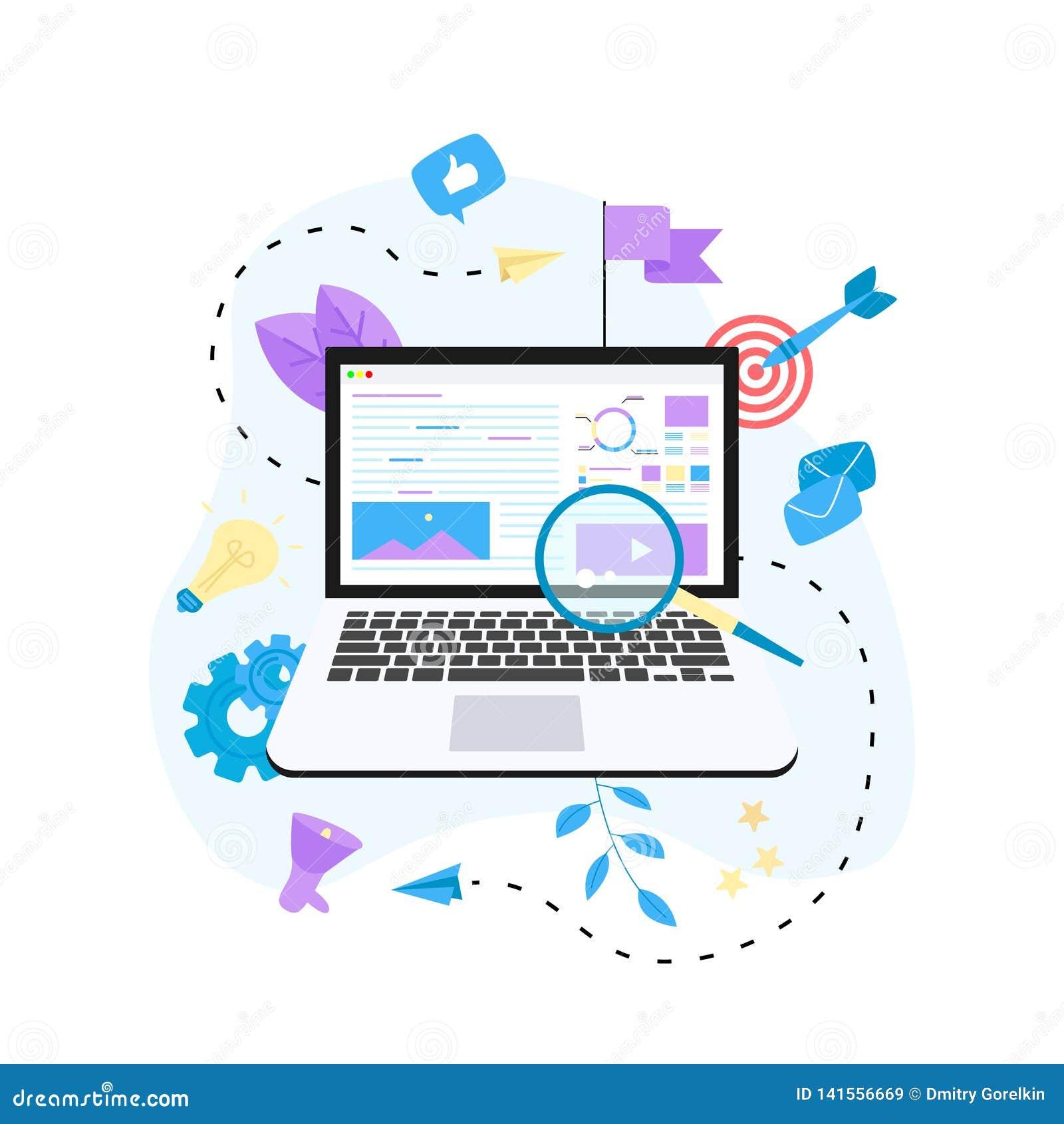 Concetto per Digital che commercializza agenzia, illustrazione piana di vettore di campagna digitale di media