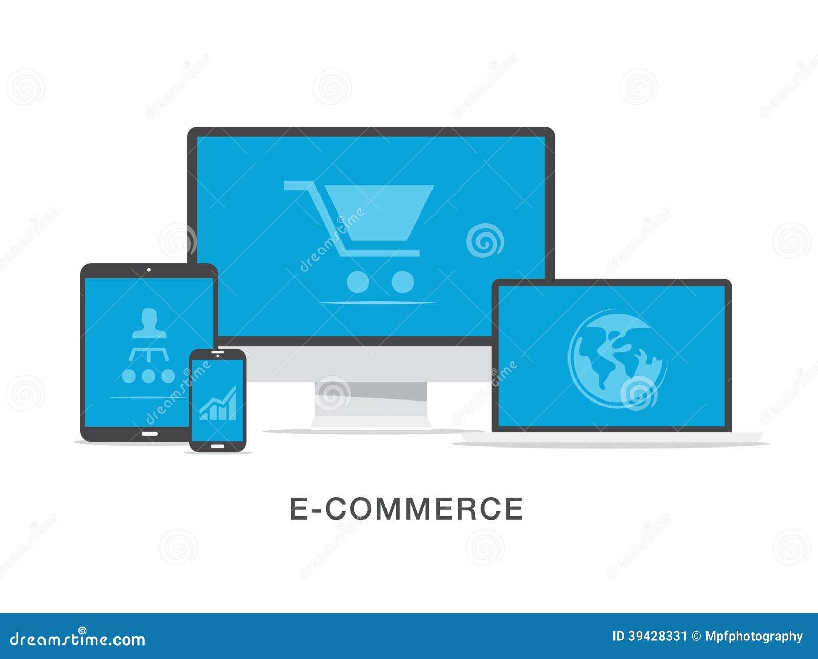Concetto piano dell illustrazione di affari di commercio elettronico