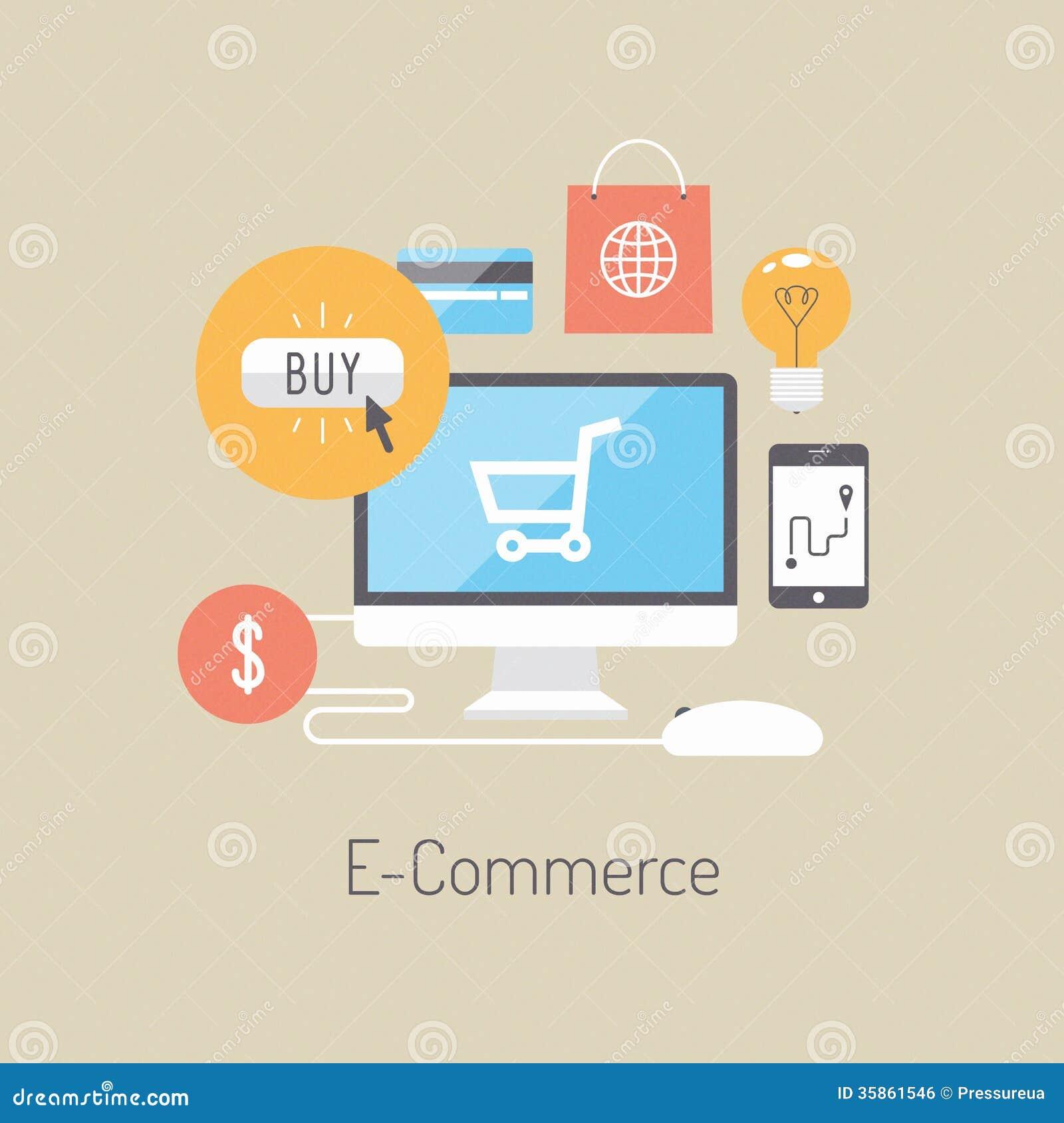 Concetto piano dell illustrazione di commercio elettronico