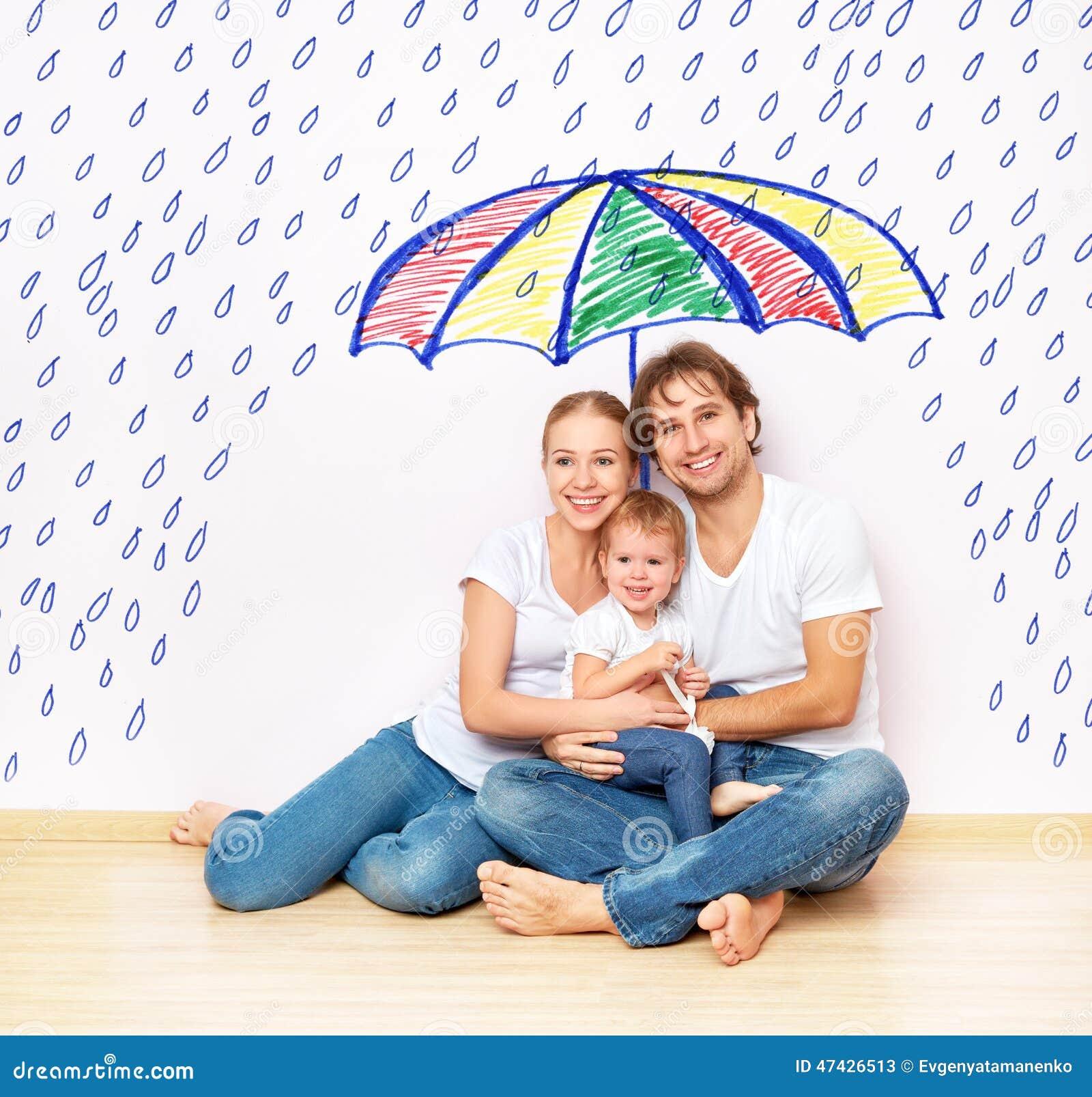 Concetto: protezione sociale della famiglia la famiglia ha preso il rifugio dalle miserie e la pioggia sotto l ombrello