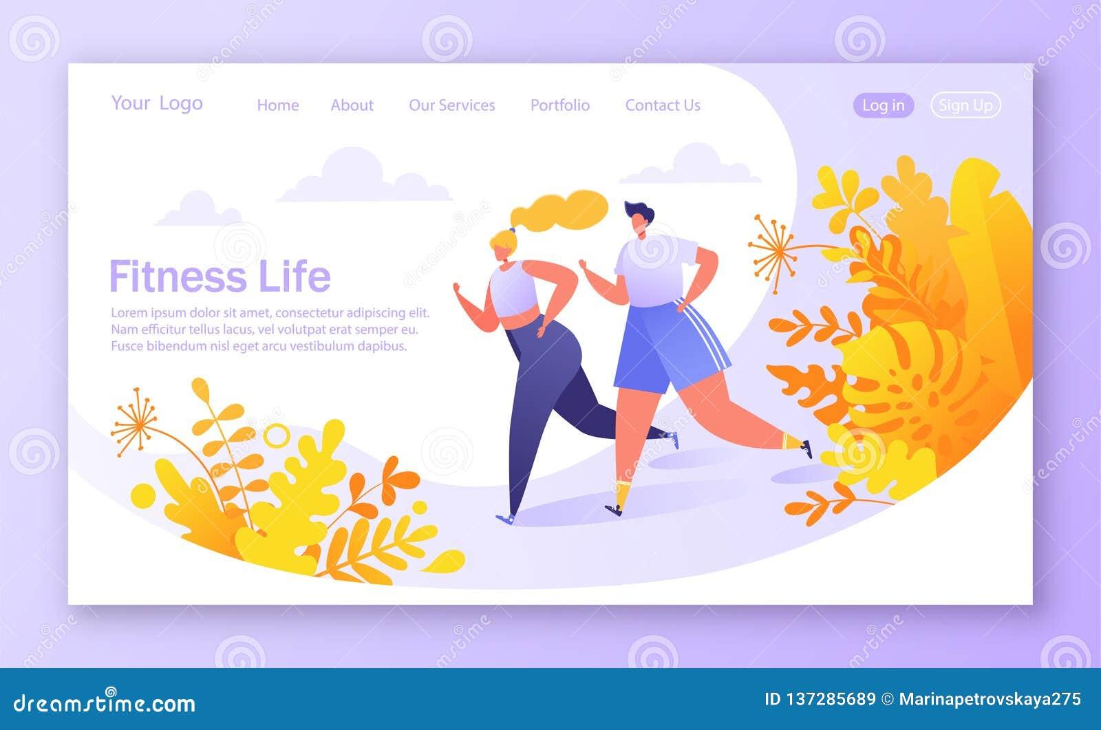 Concetto sano di stile di vita per il sito Web o la pagina Web Funzionamento del carattere di forma fisica, allenamento di formaz
