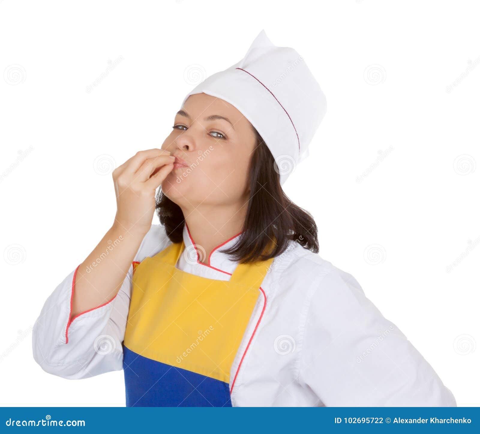 Concetto saporito dell alimento Bello cuoco unico Giving della giovane donna un perfetto