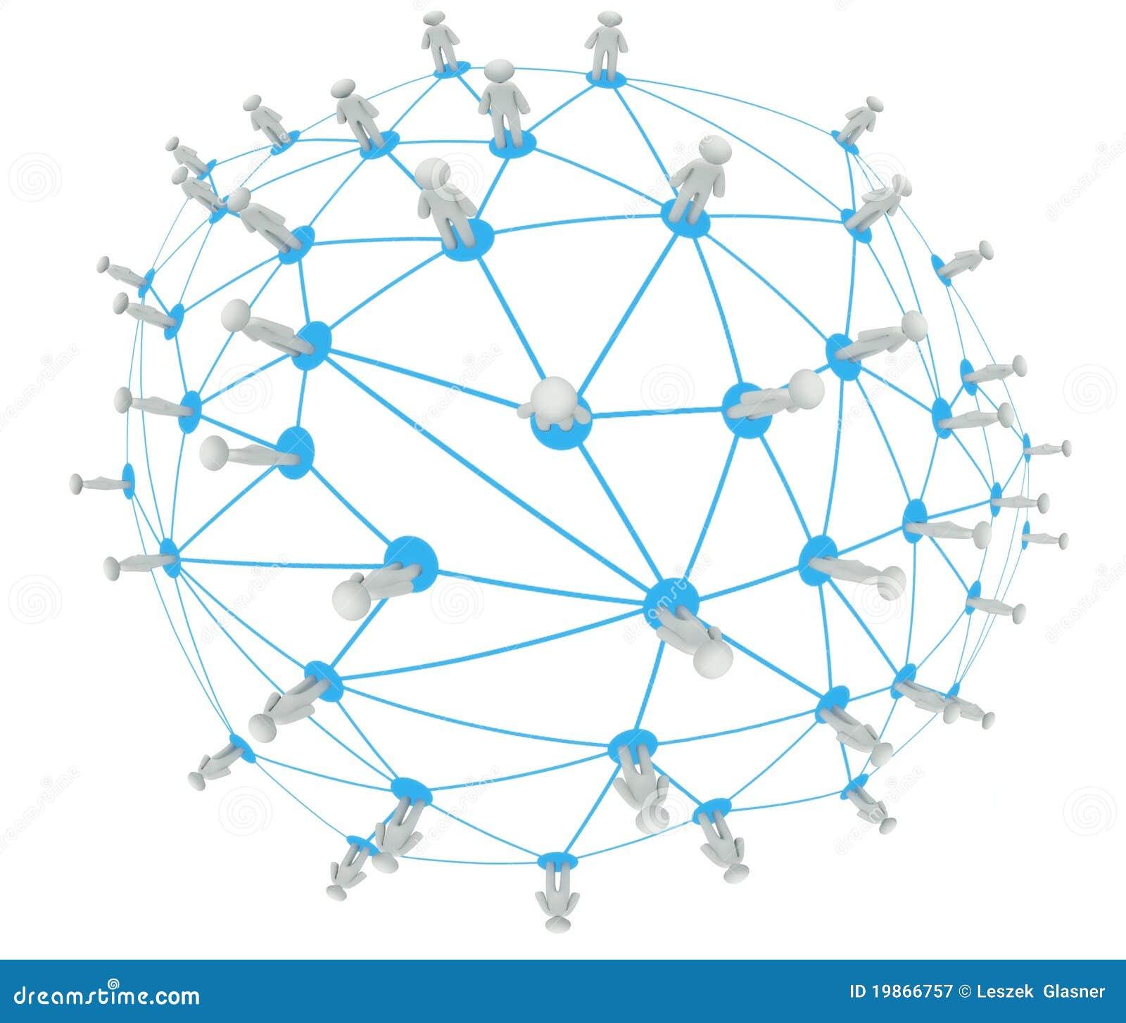 Il concetto sociale del collegamento di rete, occhio di pesci astratto