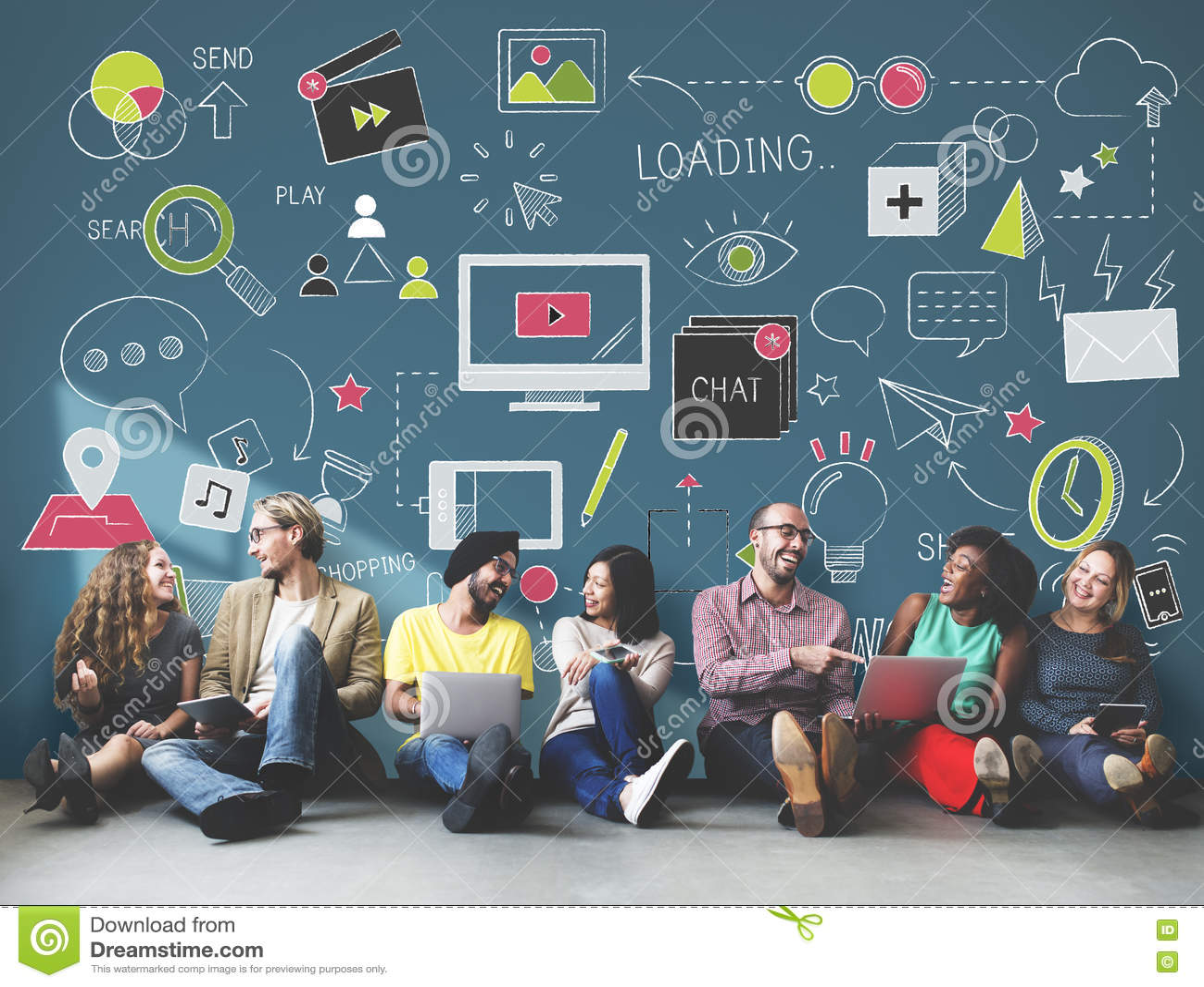 Concetto sociale del collegamento di tecnologia della rete sociale di media
