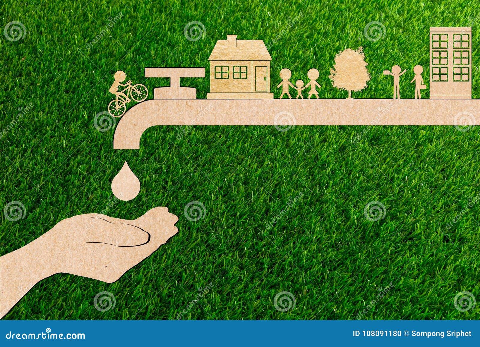 Concetto in tensione di ecologia di risparmi dell acqua di rubinetto della gocciolina del taglio della carta