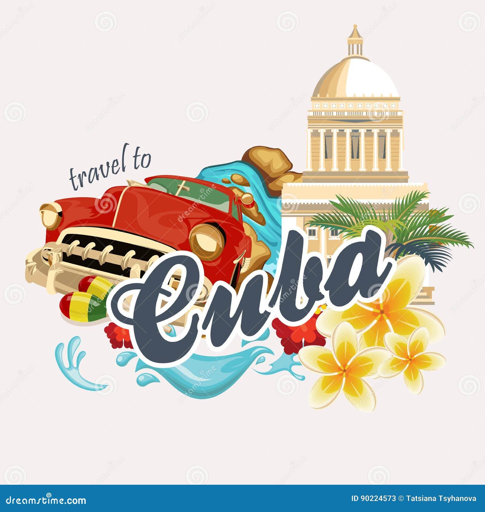 Concetto variopinto della carta di viaggio di Cuba Manifesto di viaggio con la retro automobile Illustrazione di vettore con cult