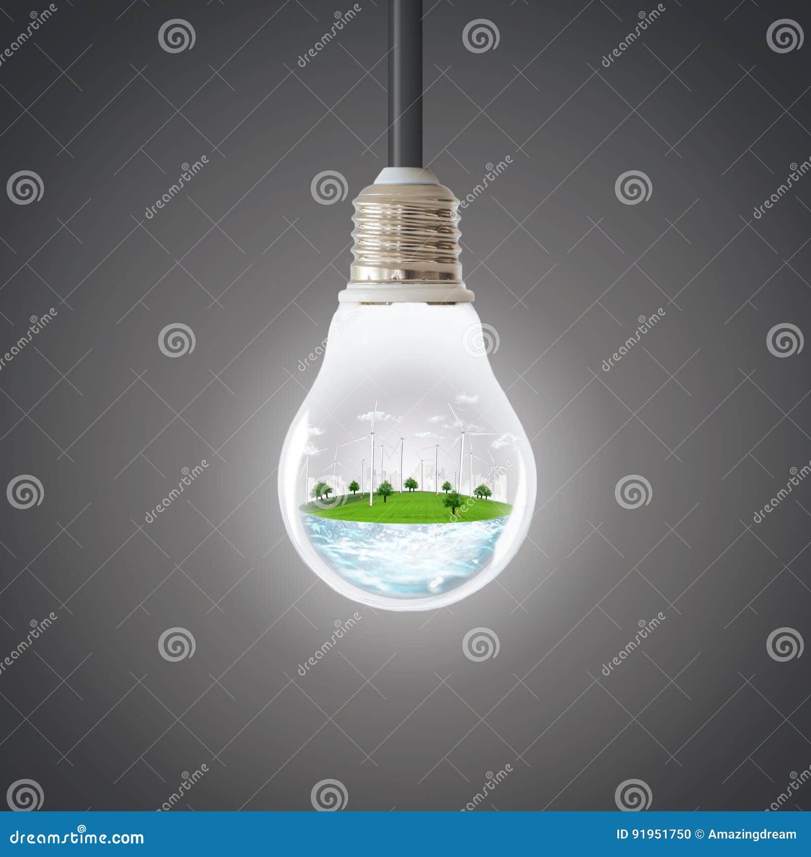 Concetto verde del pianeta Ambiente pulito di ecologia della natura del generatore eolico