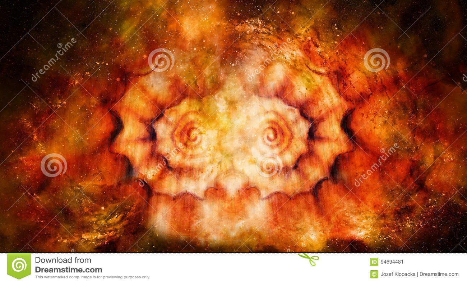 Conchiglia astratta della pittura su tela nel fondo cosmico