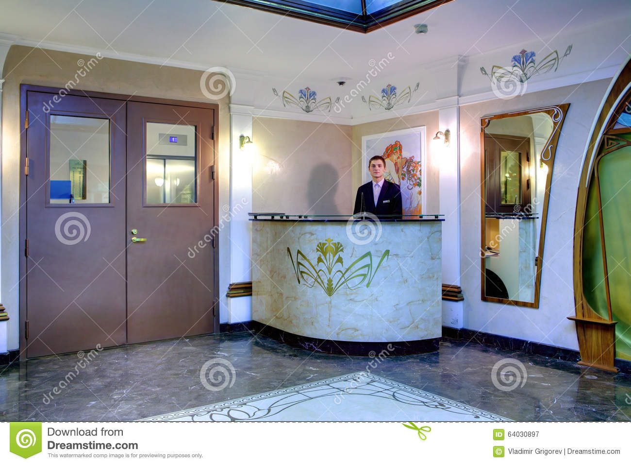 Concierge At The Entrance To Elite Apartment Building Editorial