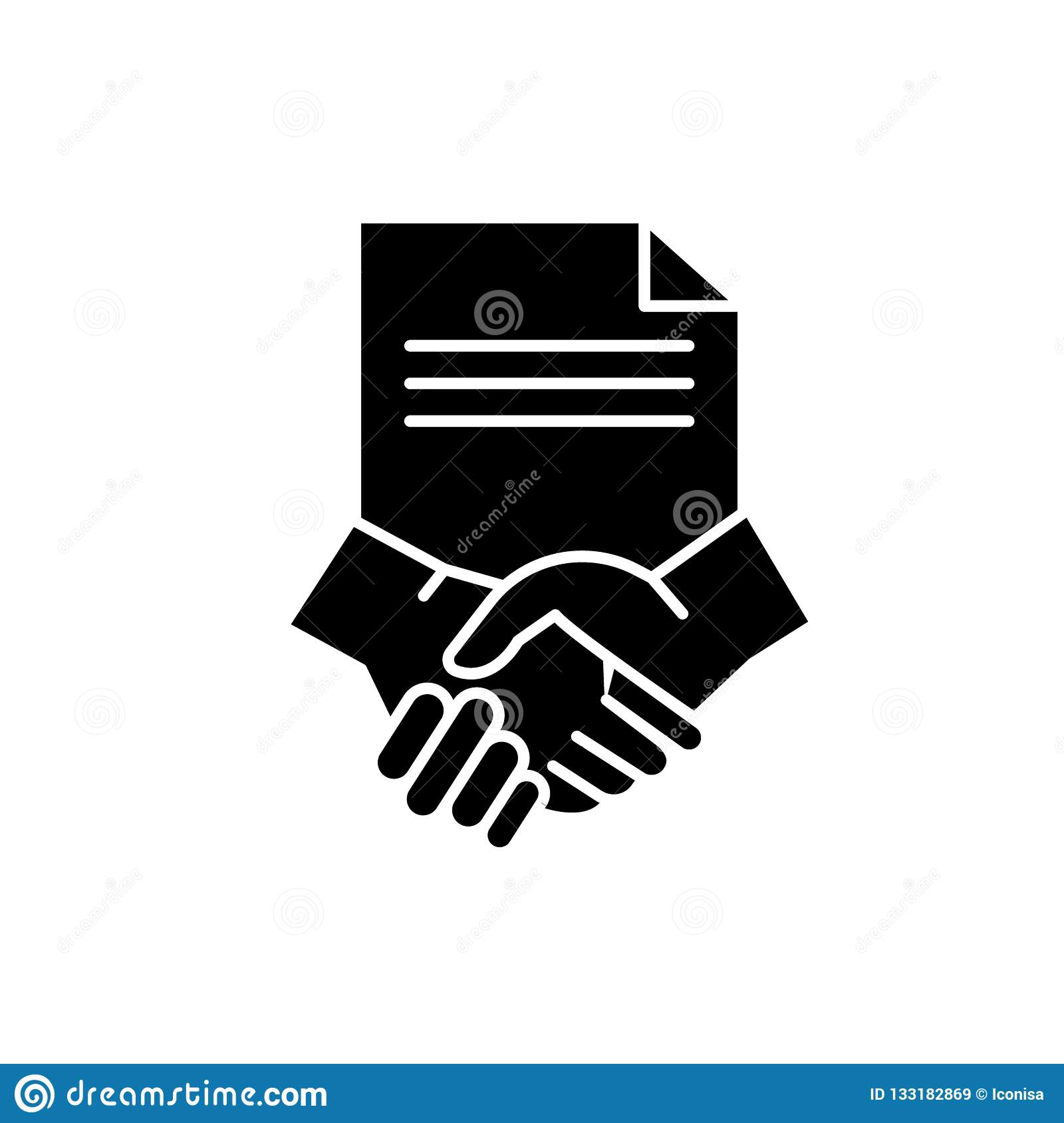 Conclusion of a contract black icon, vector sign on isolated background. Conclusion of a contract concept symbol