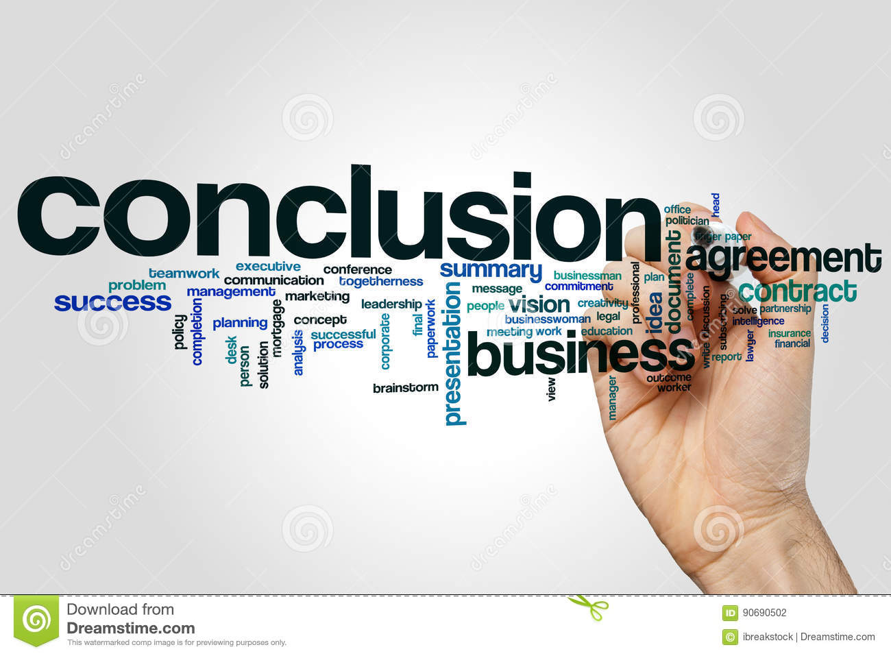 conclusion word cloud concept on grey background stock photo image