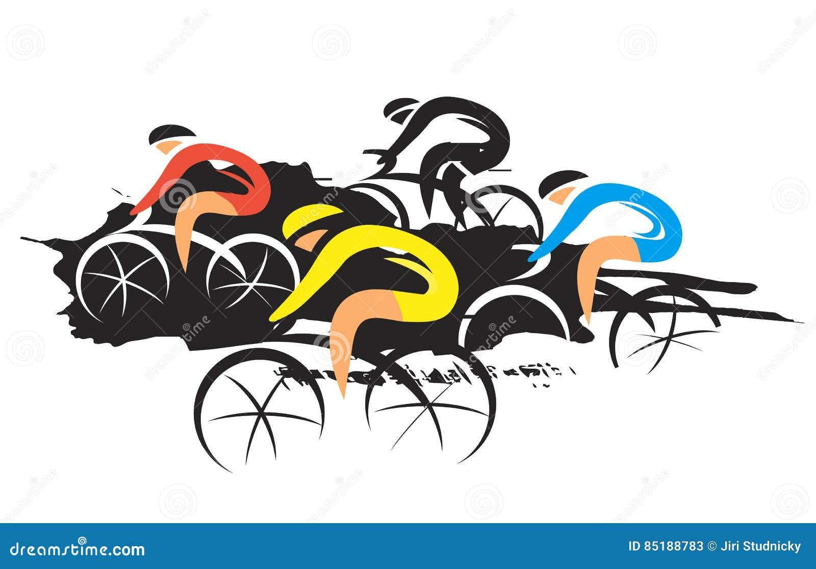concorrentes do ciclismo da estrada ilustração do vetor ilustração