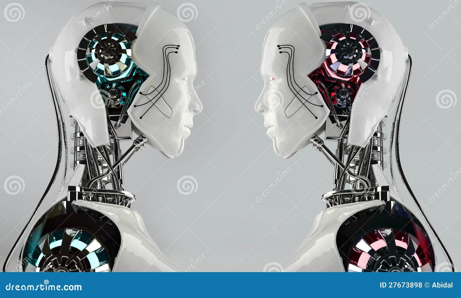 Concorrenza degli uomini del android del robot