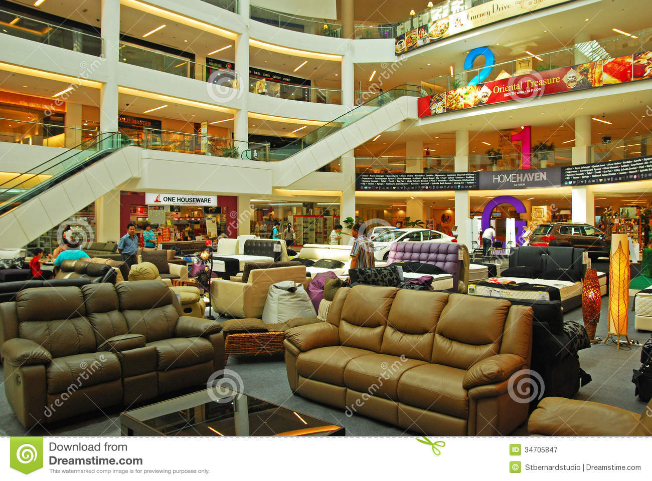 Concourse in shopping mall used for furniture and for Furniture mall