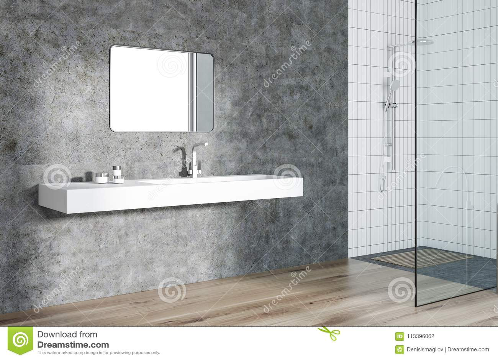 Concrete Bathroom Corner, Sink And Shower Stock Illustration ...