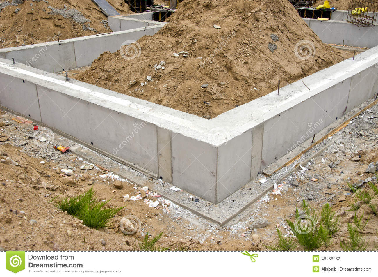 Concrete Block Foundation For Urban House Stock Photo