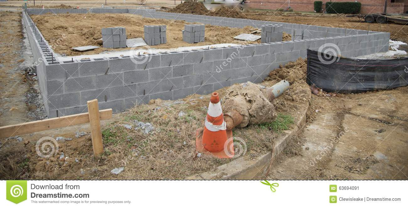 Concrete blocks for a commercial building stock photo for Building a block foundation