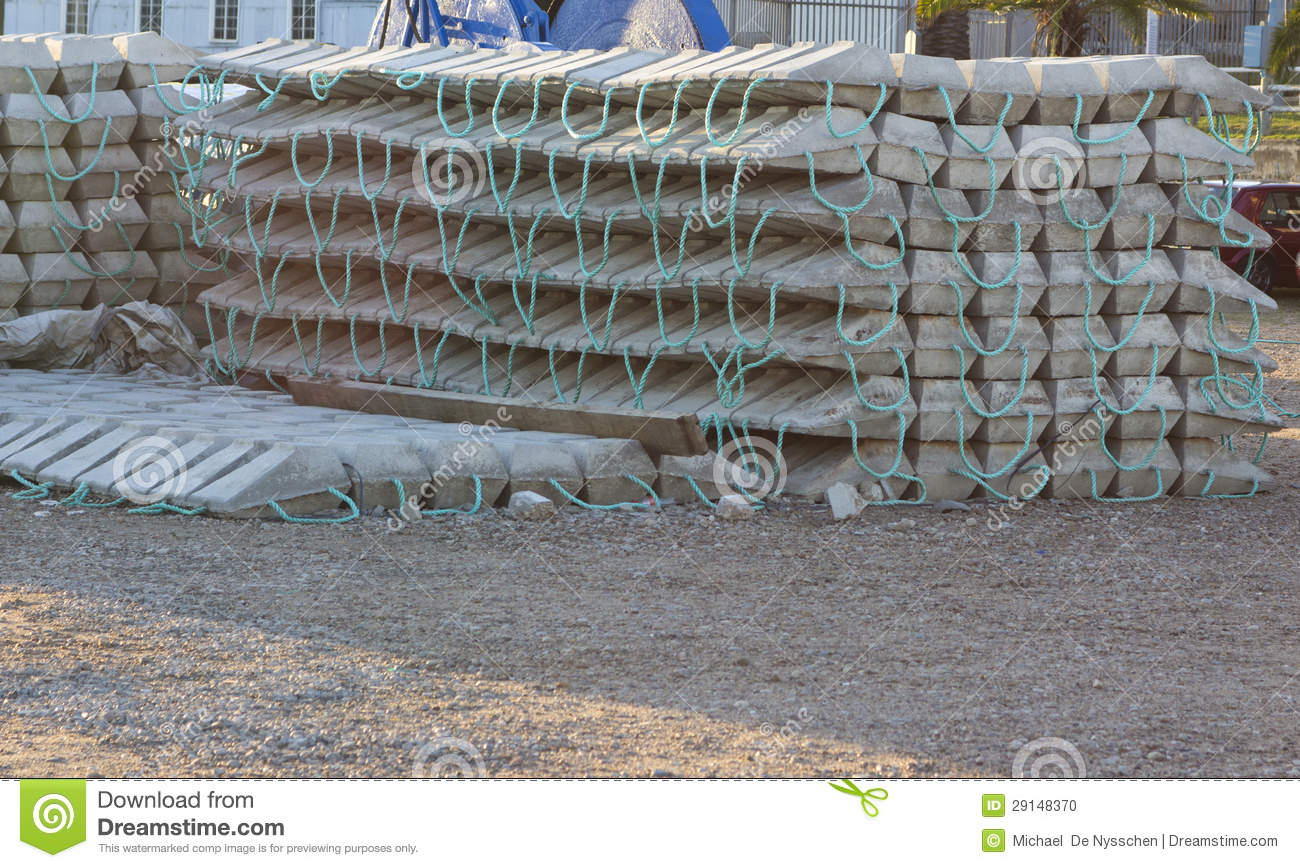 Concrete Blocks Or Mattress For Subsea Support Stock Photo