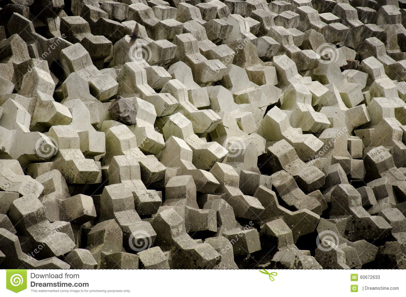 Concrete Blocks Sea Wall Stock Photo - Image: 60672633
