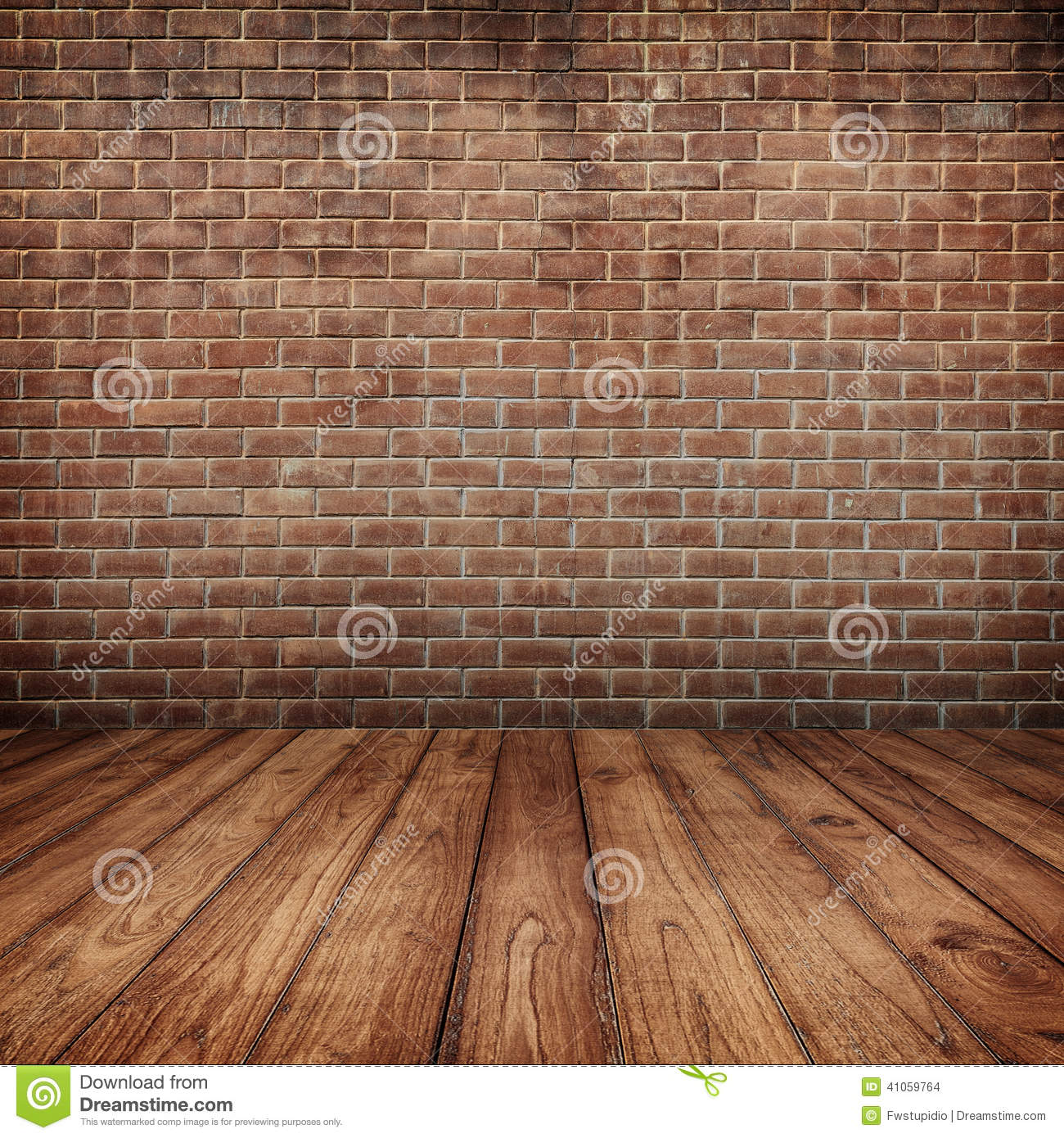 Concrete Brick Walls And Wood Floor For Text And