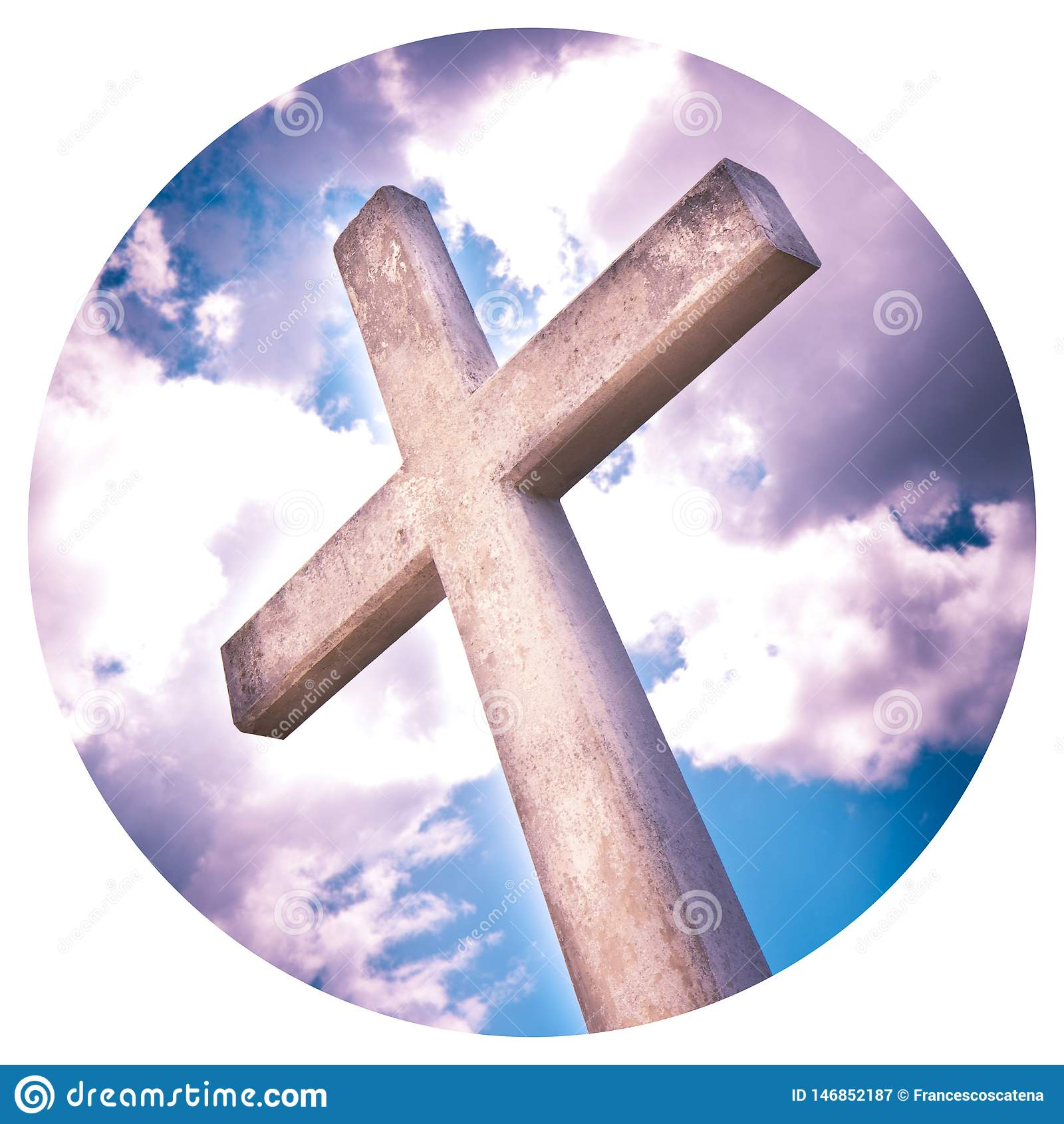 Concrete christian cross against a dramatic cloudy sky - - Round icon concept image - Photography in a circle