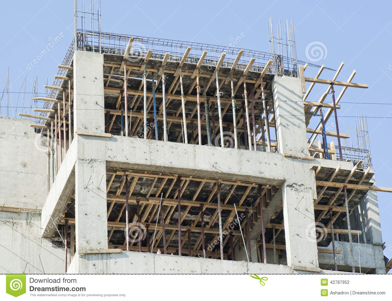 Cement House Construction : Concrete construction site of new building stock photo