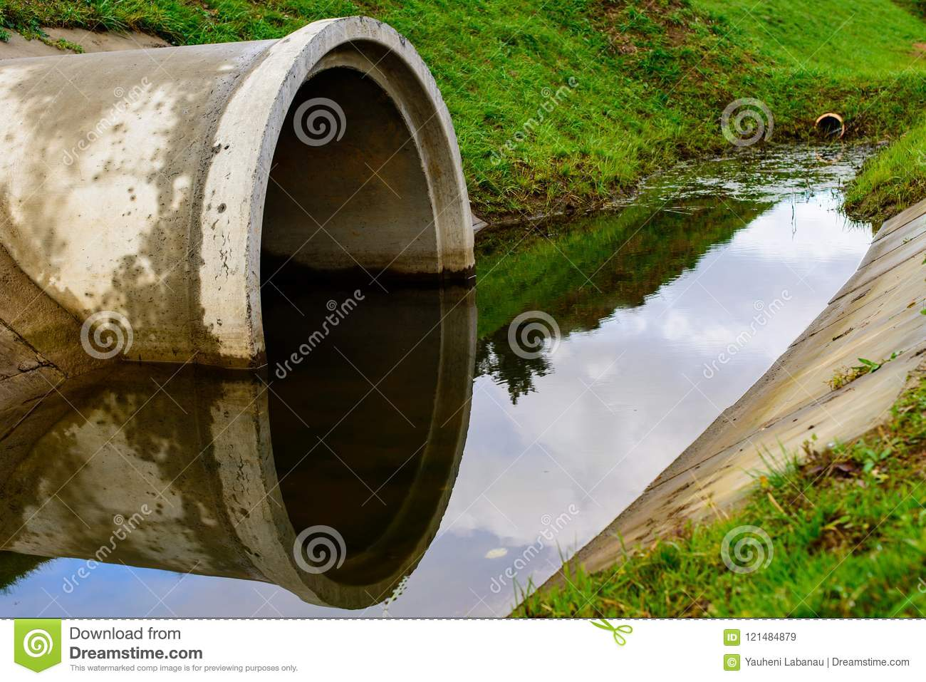 Concrete Culvert Pipe Hole System Draining Sewage Water  Environ