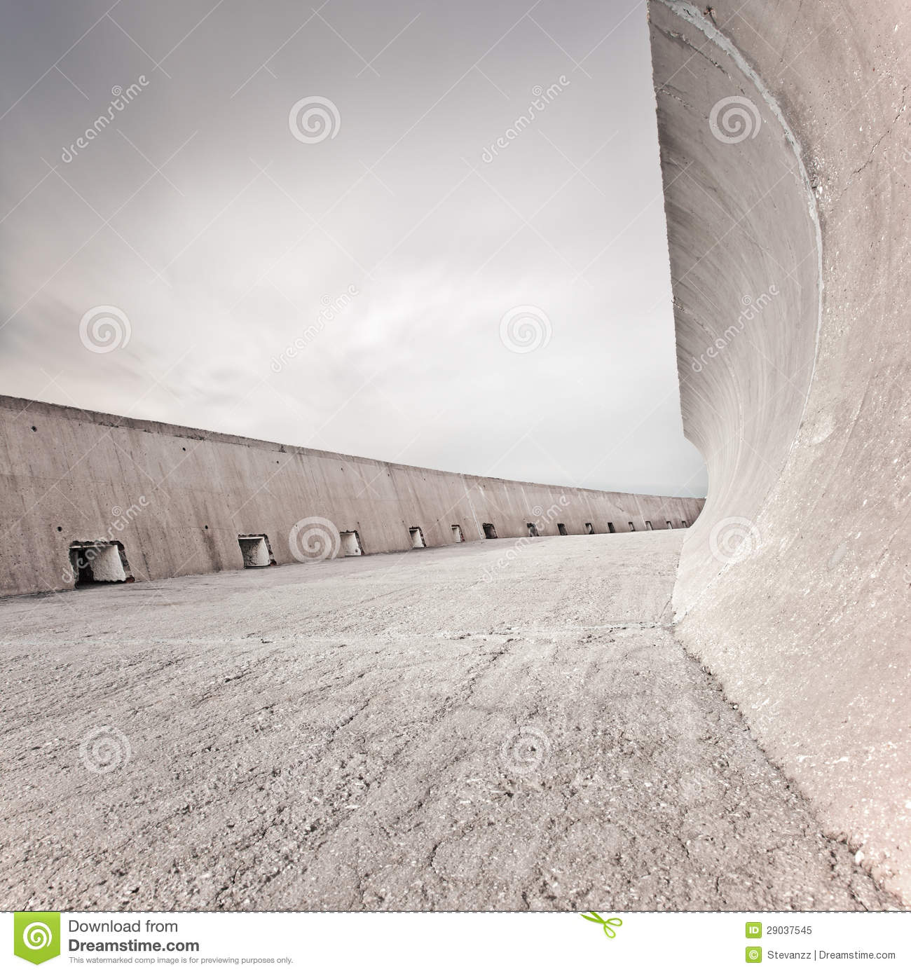 Concrete Dike Wall Design : Concrete dike or dam structure wall and floor cloudy sky