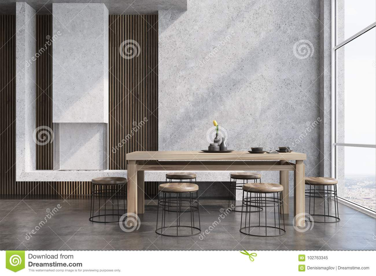 Modern Dining Room Interior With Concrete And Wooden Walls A Table Round Chairs Near It Loft Window Fireplace 3d Rendering Mock Up