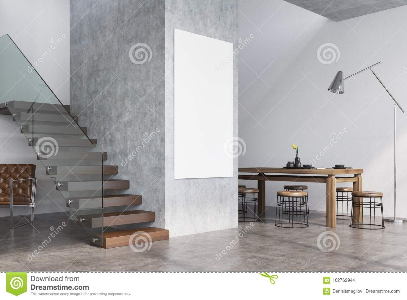 Concrete Dining Room Interior Stairs And Poster