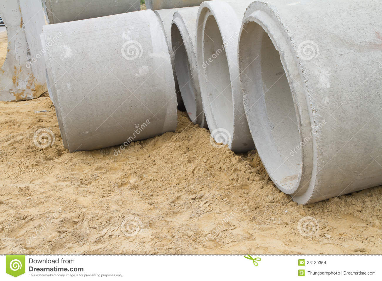 Cement Drain Pipe 24 : Concrete drainage pipe on a construction site stock images