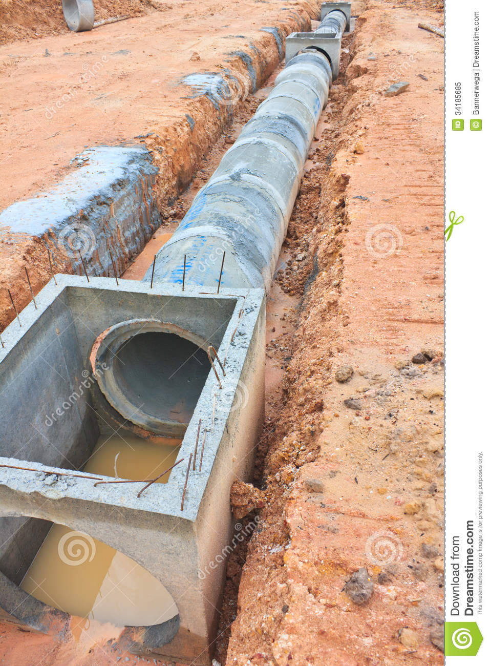 Concrete Drainage Tank On Construction Site Royalty Free