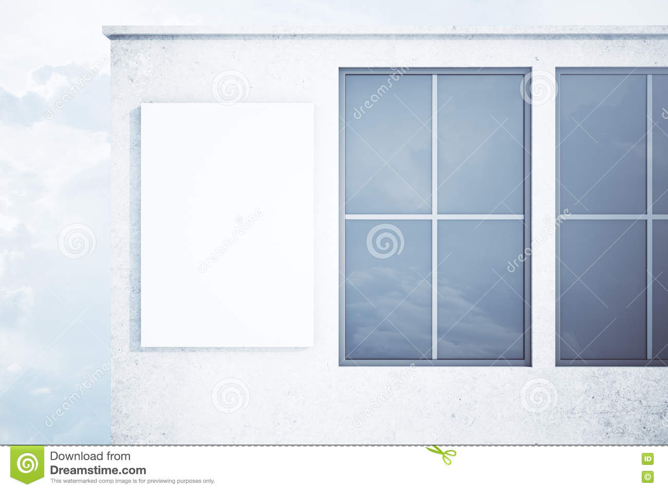 Concrete Building With Windows : Concrete exterior with blank banner royalty free stock