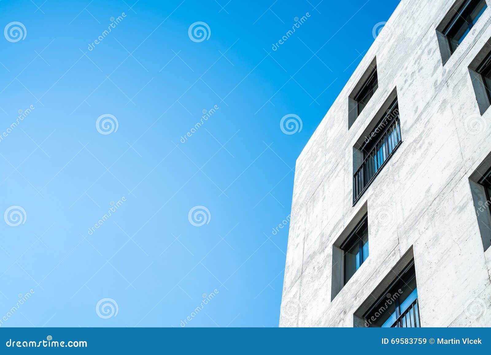 Concrete Building With Windows : Concrete facade of a building with windows stock