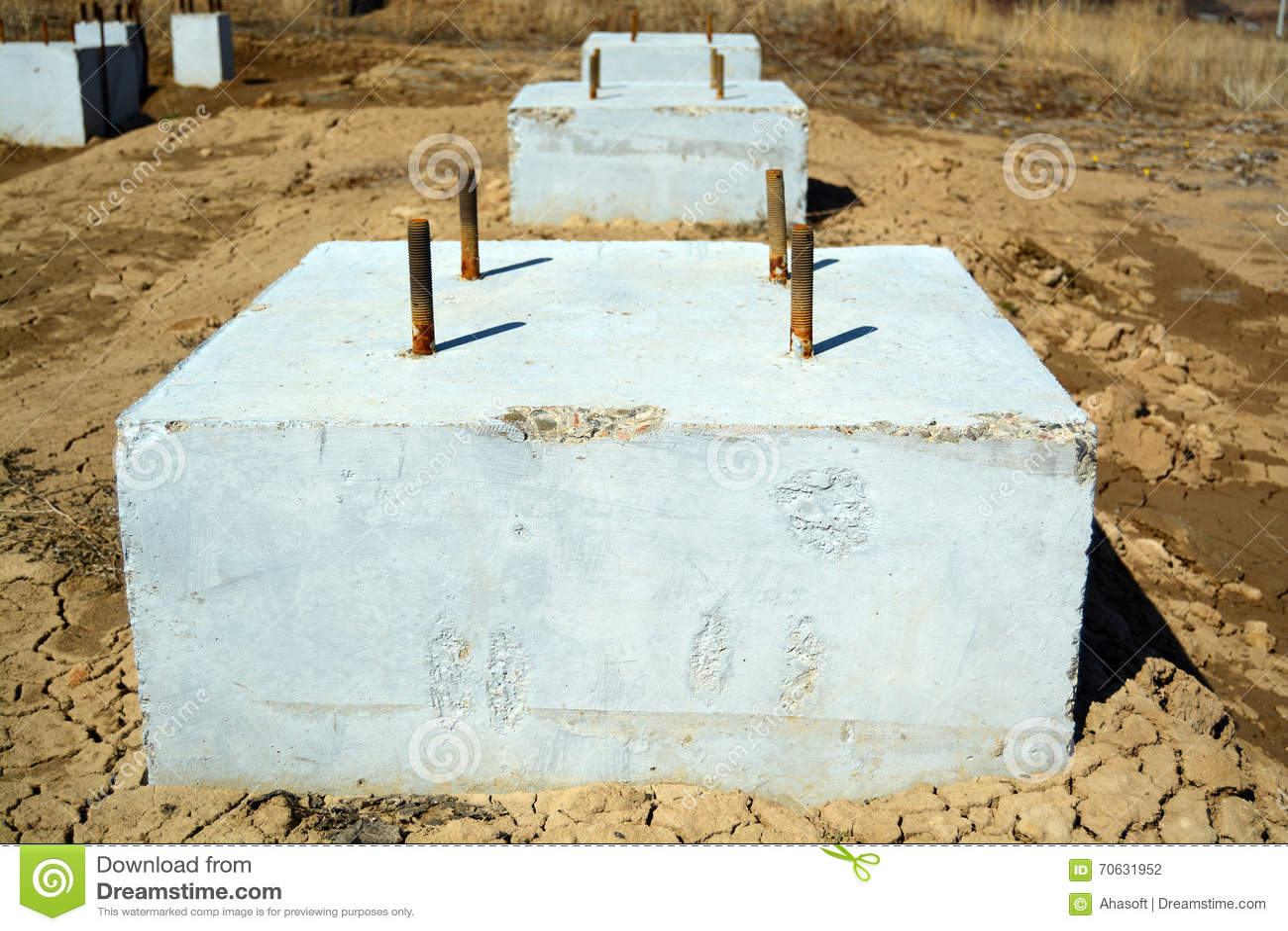 Concrete foundation blocks photo stock photo image 70631952 for Cinder block vs concrete foundation