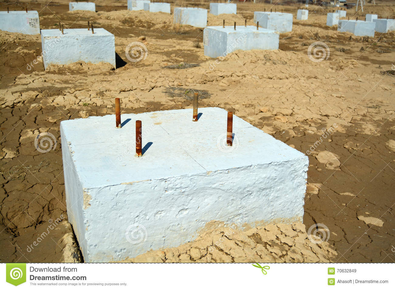 Concrete Foundation Construction Area Photo Stock Photo