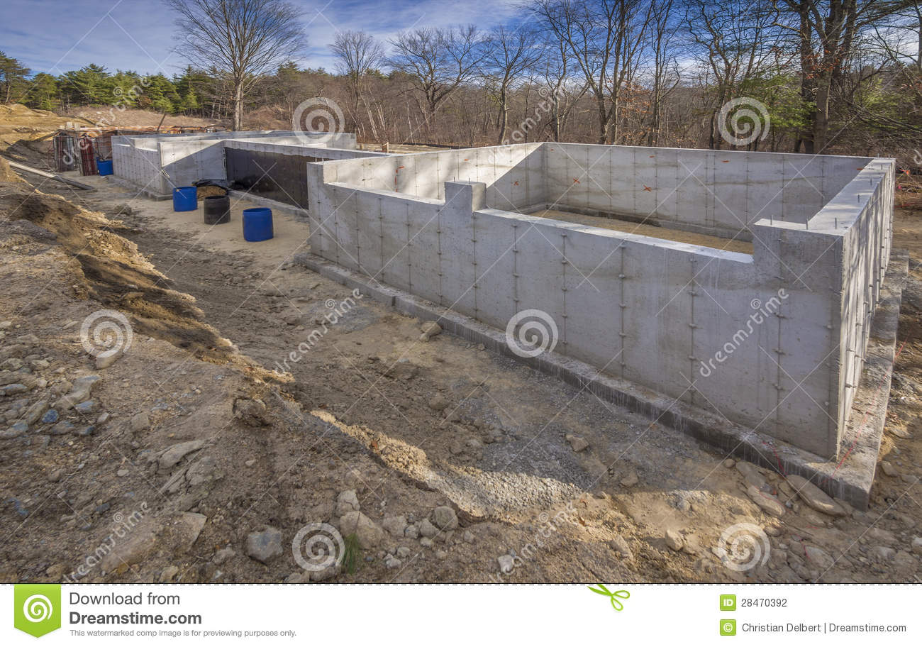 Concrete foundation for a new house stock photography for New home foundation