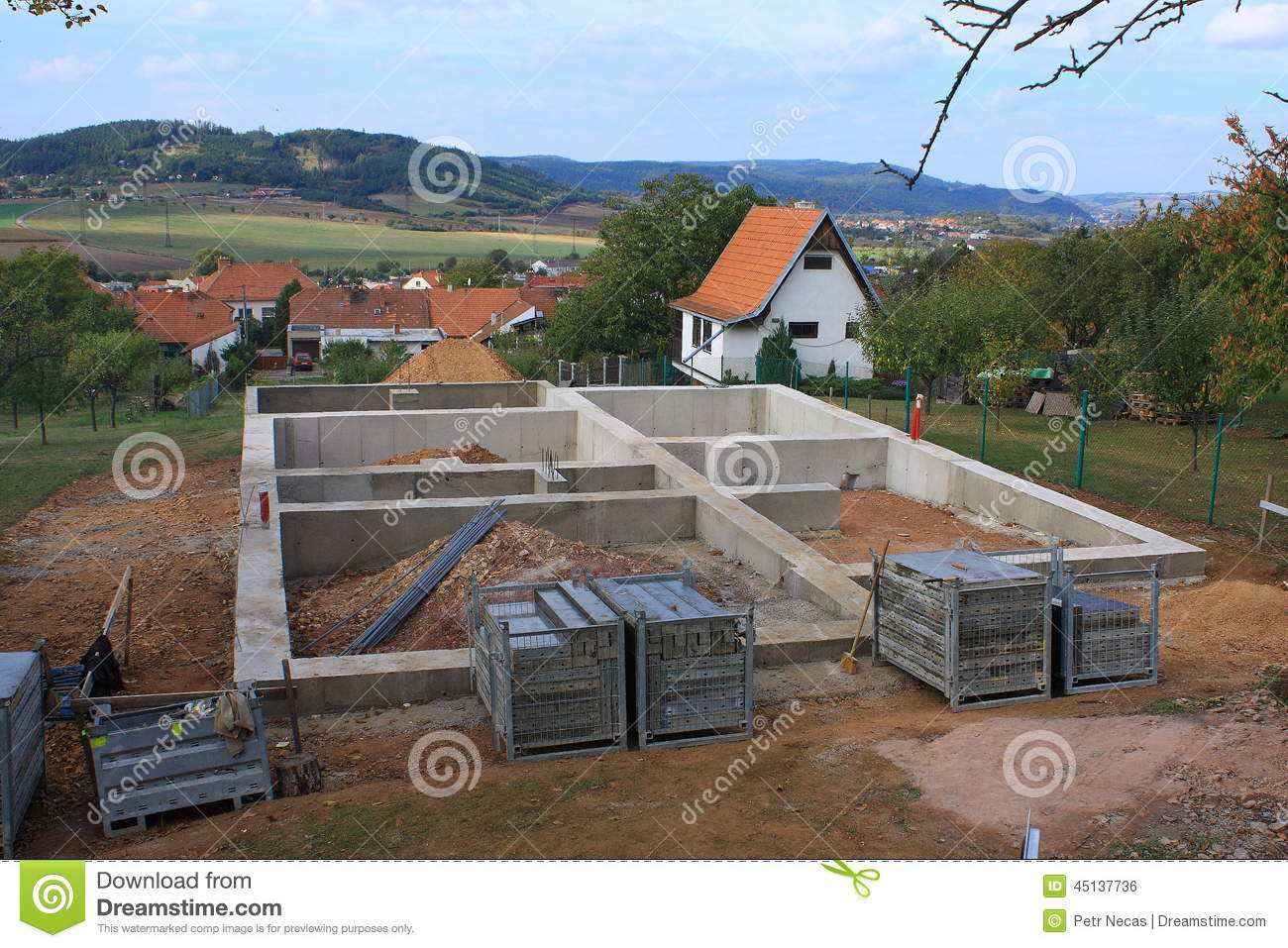 Concrete foundation for a new house stock photo image for New home foundation