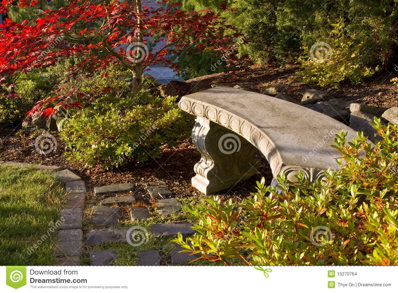banco de jardim vetor:Concrete Garden Bench on Cobblestones with Trees and Shrubs.