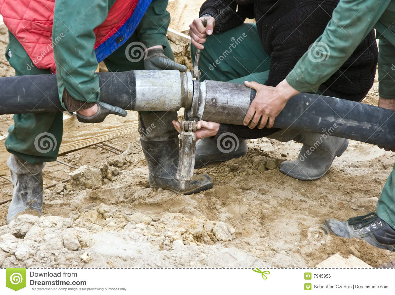 Concrete hose stock photo  Image of boots, filling, home - 7945956